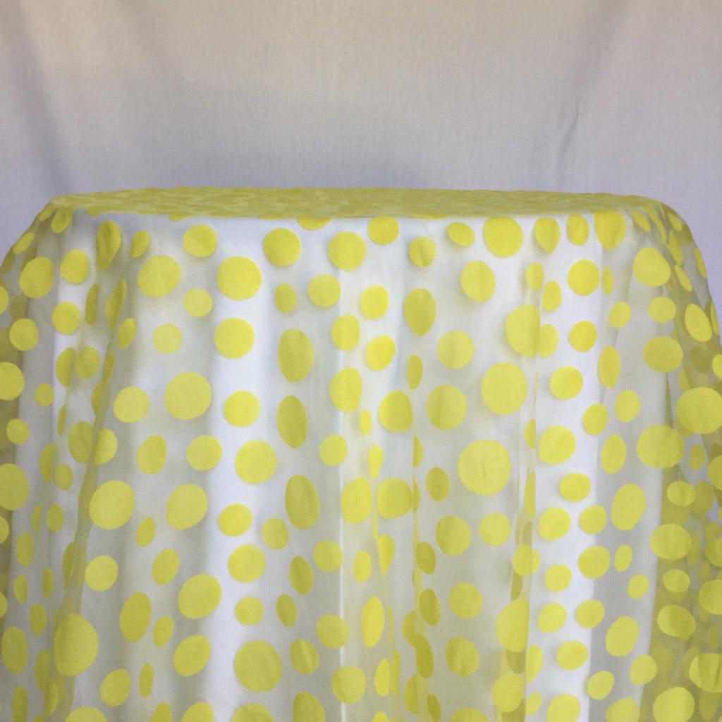 Overlay yellow polka dot sheer 90x90 I Do Event Rentals